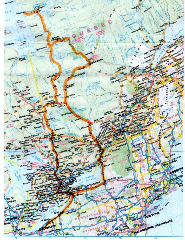 James Bay ride map