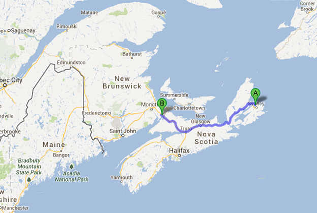 N Sydney to Sackville map